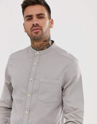 Asos Design DESIGN stretch slim denim shirt in grey with grandad collar