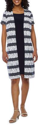 Perceptions Short Sleeve Puff Print Striped Faux Jacket Dress-Petite
