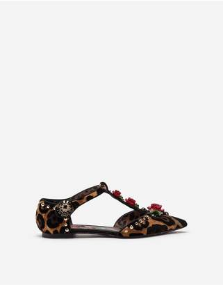 Dolce & Gabbana Ballet Flats In Velvet Stitch With Embroideries