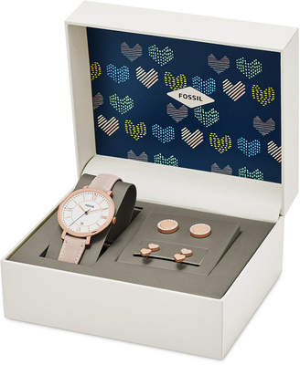 Fossil Women's Jacqueline Pink Leather Strap Watch 36mm and Stud Earrings Box Set ES4202SET $155 thestylecure.com