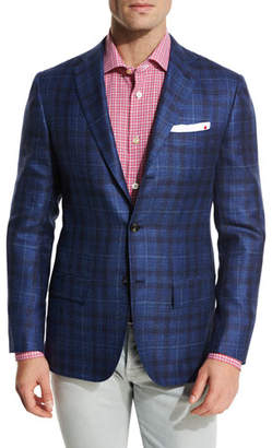 Kiton Exploded Plaid Three-Button Sport Coat, Navy