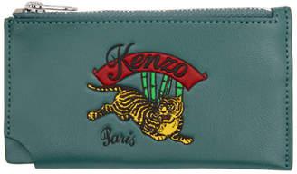 Kenzo Blue Zipped Jumping Tiger Card Holder
