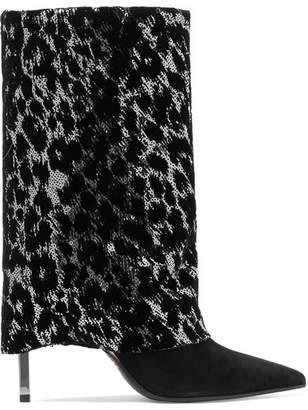 Balmain Babette Sequined Suede Boots - Black