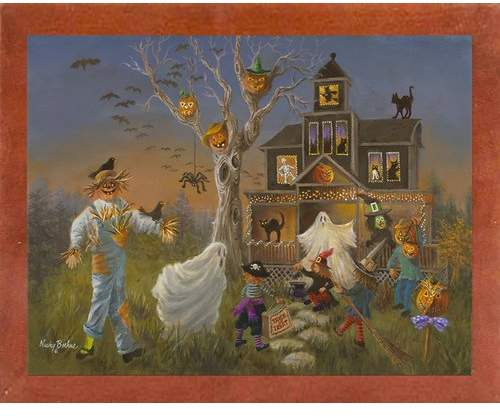 The Holiday Aisle 'Spooky Halloween' Print Format: Affordable Canadian Walnut Medium Framed Paper,
