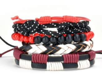 Tag Twenty Two 5 Piece Bracelet Set with Leather Wood and Paracord / Cord