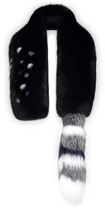 Lysa Lash Furs Micro Intarsia Scarf with Tail