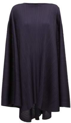 Pleats Please Issey Miyake Sleeveless Oversized Pleated Dress - Womens - Navy