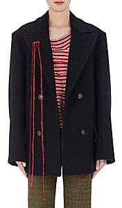 Maison Margiela WOMEN'S WOOL DOUBLE-BREASTED PEACOAT-NAVY SIZE 44 IT