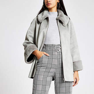River Island Grey faux suede cape jacket