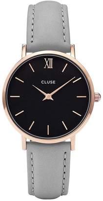 Cluse Women's Minuit 33mm Grey Leather Band Metal Case Quartz Watch CL30018