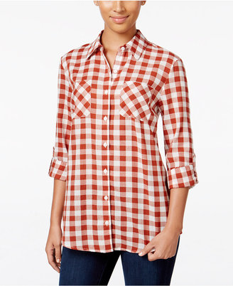 Style & Co. Gingham Roll-Tab Shirt, Only at Macy's $49.50 thestylecure.com