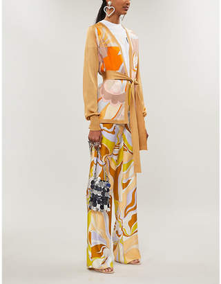 Emilio Pucci Printed silk-panelled knitted cardigan