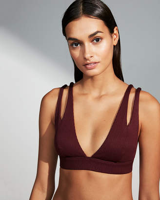 Express Ribbed Cut-Out Plunge Bikini Top