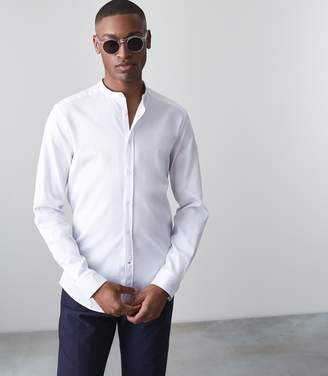 Reiss Our last order date for Christmas has now passed CAFFREY TEXTURED GRANDAD COLLAR SHIRT White