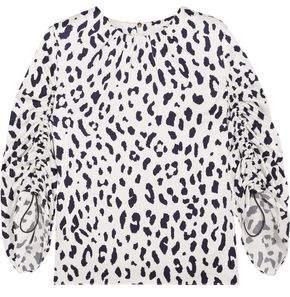 Tibi Gathered Leopard-Print Silk-Satin Top