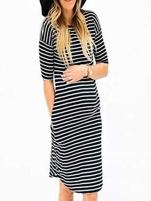 3aa7026b3776e baskuwish Women Dress Maternity Bodycon Dress Ruched Sides Knee Length  Shirred Casual Pregnancy Dress