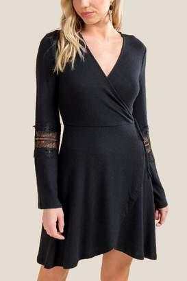 Emery Bell Sleeve Skater Dress - Black
