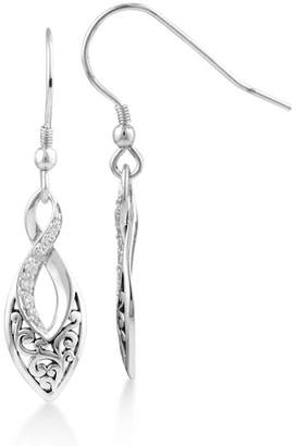 Lois Hill Sterling Silver Filigree & Pave Diamond Twisted Teardrop Earrings - 0.125 ctw