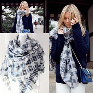 Generic Women's Two Side Warm Thick Large Tartan Blanket Plaid Scarf Wrap Shawl-white/gray