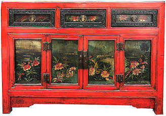 One Kings Lane Vintage Antique Chinese Floral Painted Cabinet - Antiquarian Art Company