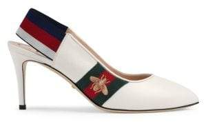 Gucci Sylvie Leather Web Mid-Heel Slingback Pumps