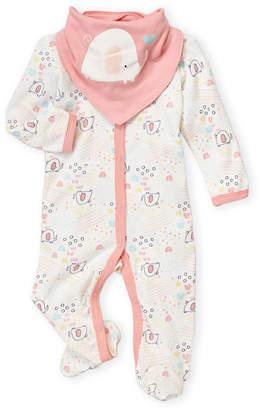 Baby Essentials Chick Pea (Newborn Girls) Two-Piece Elephant Sleeper & Bandana Bib Set