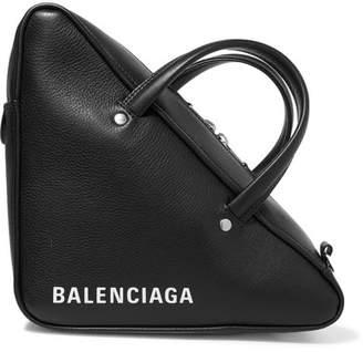 Balenciaga Triangle Duffle Printed Textured-leather Tote - Black