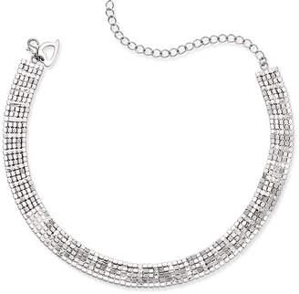 Thalia Sodi Silver-Tone Rhinestone Choker Necklace