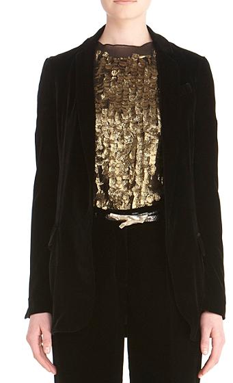 Diane von Furstenberg Yvan Velvet Jacket In Black