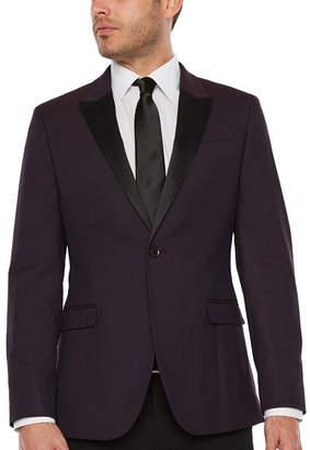 Jf J.Ferrar Formal Stretch Burgundy Geo Slim Fit Sport Coat
