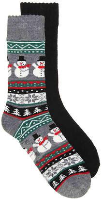 Aston Grey Snowman Slipper Socks - 2 Pack - Men's