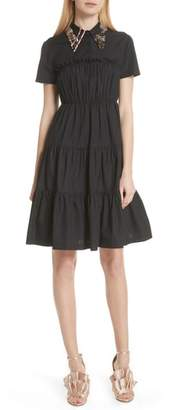 N°21 N21 N?21 Pin Collar Tiered Poplin Dress