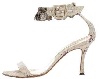 Manolo Blahnik Metallic Jacquard Sandals