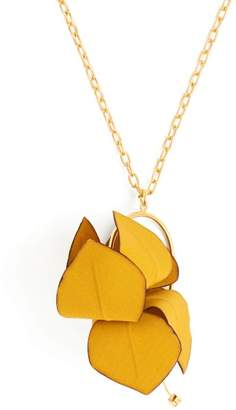 Marni Flora Fabric And Strass Necklace - Womens - Yellow