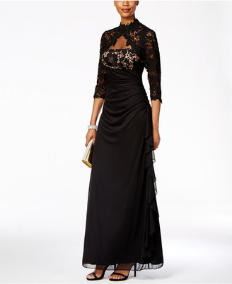 Betsy & Adam Lace Open-Back Ruffled Gown $209 thestylecure.com