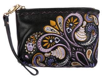 Isabella Fiore Embroidered Leather Zip Pouch