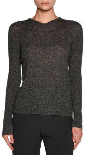 Giorgio ArmaniGiorgio Armani Ribbed V-Neck Long-Sleeve Sweater, Gray