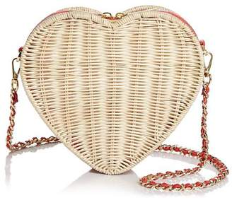 Ted Baker Hiilda Heart Medium Straw Crossbody