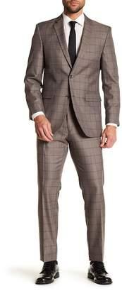 Perry Ellis Notch Collar Flat Front Windowpane Print 2-Piece Suit