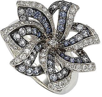 LeVian Suzy Diamonds Suzy 18K & Silver 1.74 Ct. Tw. Sapphire Flower Ring