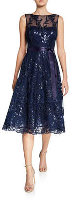 Rickie Freeman For Teri Jon Sequin Lace Boat-Neck Sleeveless Illusion Dress