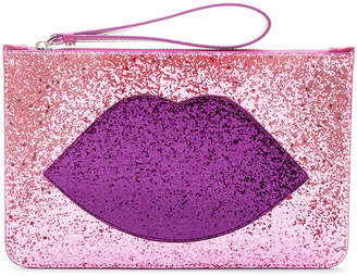 Lulu Guinness Glitter Lip Grace Clutch Bag - Light Pink/Purple