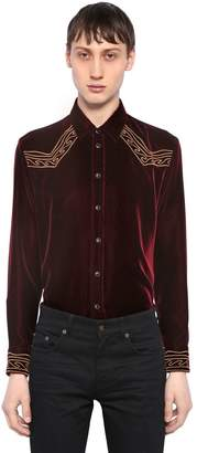 Saint Laurent Folk Waves Embroidered Velvet Shirt