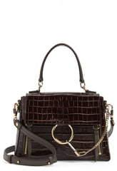 Chloé Medium Faye Day Croc Embossed Leather Shoulder Bag