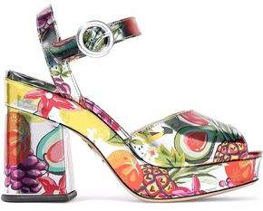 Charlotte Olympia Metallic Printed Leather Platform Sandals
