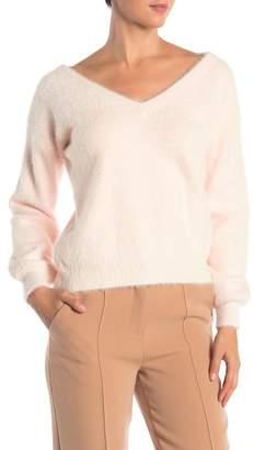 Catherine Malandrino Long Sleeve Fuzzy V-Neck Sweater