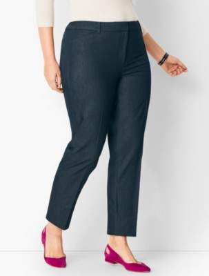 Talbots Plus Size High-Waist Tailored Ankle Pant - Polished Denim