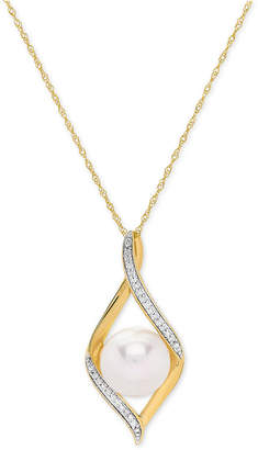 """Honora Cultured Freshwater Pearl (9 mm) & Diamond Accent 18"""" Pendant Necklace in 14k Gold"""
