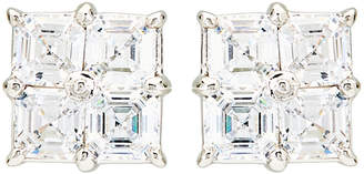 FANTASIA Silver-Tone 4-Square Cubic Zirconia Earrings