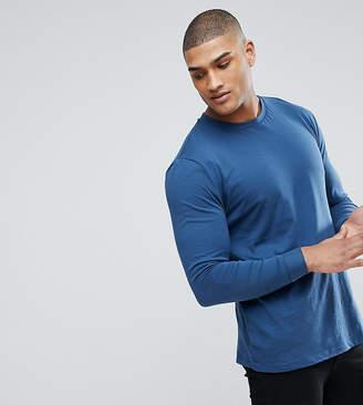 Asos DESIGN Tall roll long sleeve t-shirt in blue